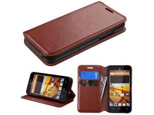 ZTE Speed Case, eForCity Stand Folio Flip Leather [Card Slot] Wallet Flap Pouch Case Cover for ZTE Speed, Brown