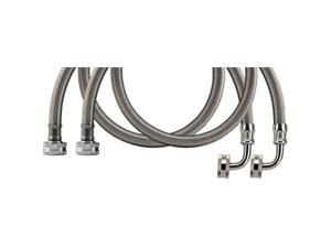 WMSL4 2-PACK Braided Stainless Steel Washing Machine Connectors with Elbow (4ft, 2 pk)