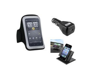 eForCity Car Charger + Holder + Pouch Black Sport Armband Case 212 compatible with Apple® iPhone 5 5G Gen