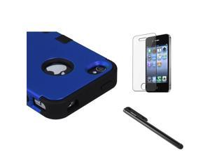 eForCity Titanium Dark Blue / Black TUFF Hybrid Phone Protector Cover + Black Touch Screen Stylus + Reusable Screen Protector Compatible with Apple® iPhone 4 / 4S