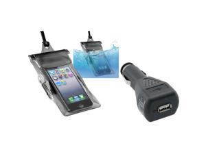 eForCity Black Universal Waterproof Bag Case For Cell Phone/PDA + Universal USB Car Charger Adapter For iPhone 5 / 5S / 5C ...