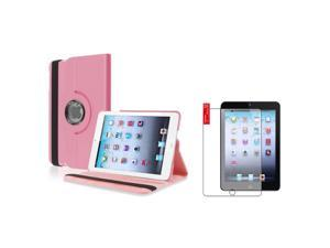 eForCity Light Pink 360 Swivel Leather Case Cover + 2x Anti-Glare Screen Protector For iPad Mini 1 / Apple iPad Mini 2 / iPad Mini with Retina Display (iPad Mini 3)