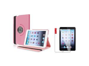 eForCity Light Pink 360 Rotating Leather Case with Reusable Screen Protector for Apple  iPad Mini 1 / Apple iPad Mini 2 / iPad Mini with Retina Display (iPad Mini 3)