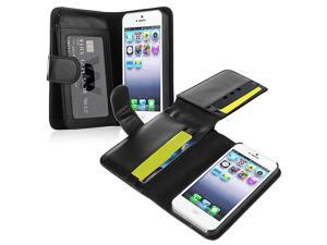 Apple iPhone 5/5S Case, eForCity Folio Flip Leather [Card Slot] Wallet Flap Pouch Case Cover for Apple iPhone 5/5S, Black