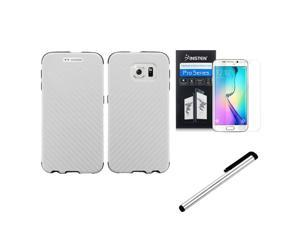 eForCity For Samsung Galaxy S6 Edge SM-G925 Slim Fused Hybrid Leather TPU Case + Stylus + Screen Protector White