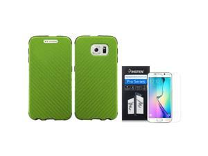 eForCity For Samsung Galaxy S6 Edge SM-G925 Slim Fused Hybrid Leather TPU Case + Screen Protector Neon Green