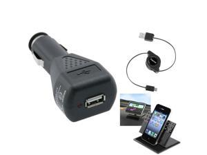 eForCity 3in1 Car Stand Mount+Black USB+Car Charger Compatible with Samsung© Galaxy S3 S III i9300 S 3 S3