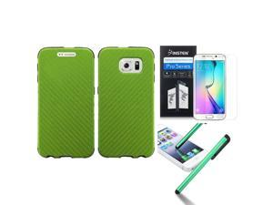 eForCity For Samsung Galaxy S6 Edge SM-G925 Fused Hybrid Leather TPU Case + Pen + Screen Protector Neon Green