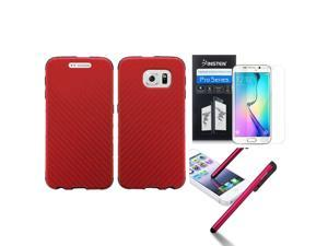 eForCity For Samsung Galaxy S6 Edge SM-G925 Slim Fused Hybrid Leather TPU Case + Stylus + Screen Protector Red