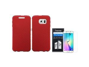 eForCity For Samsung Galaxy S6 Edge SM-G925 Slim Fused Hybrid Leather TPU Cover Case + Screen Protector Red