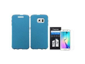 eForCity For Samsung Galaxy S6 Edge SM-G925 Slim Fused Hybrid Leather TPU Case + Screen Protector Sky Blue