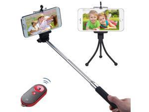 eForCity 3-In-1 Selfie Package(Monopod + Tripod Stand + Black/Red Selfie Mate)