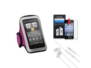 eForCity Headset + LCD Cover + Pink Sports Running Armband Case compatible with Apple® iPhone 4 4G