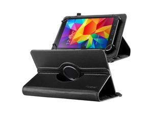 "eForCity 360 Degree Rotating Swivel PU Leather Flip Case Stand For Samsung Galaxy Tab 3 7-inch / Tab 4 7-inch /  & more 7"" Tablet Black"