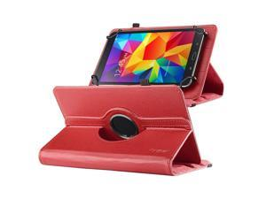 "eForCity 360 Degree Rotating Swivel PU Leather Flip Case Stand For Samsung Galaxy Tab 3 7-inch / Tab 4 7-inch /  & more 7"" Tablet Red"
