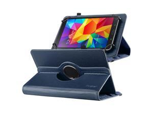 "eForCity 360 Degree Rotating Swivel PU Leather Flip Case Stand For Samsung Galaxy Tab 3 7-inch / Tab 4 7-inch /  & more 7"" Tablet Navy Blue"