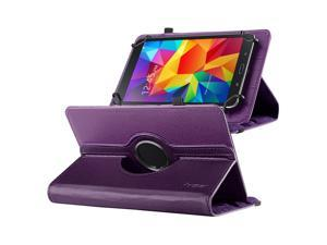 "eForCity 360 Degree Rotating Swivel PU Leather Flip Case Stand For Samsung Galaxy Tab 3 7-inch / Tab 4 7-inch /  & more 7"" Tablet Purple"