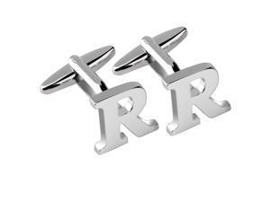 """eForCity Men's Initial """"R"""" Alphabet Letter Silver Copper Cufflinks Fathers Day Wedding Birthday Party Cuff Links"""