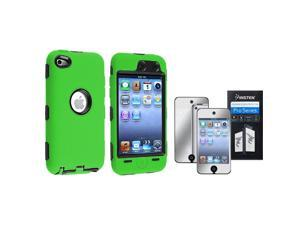 Black Hard & Green Silicone Hybrid Case with Mirror Screen Protector Compatible with Apple® iPod touch 4th Generation