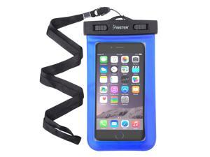"eForCity Blue Waterproof Bag PVC Carrying Case Pouch 6.5"" x 3.9"" w/ Lanyard For ZTE Fanfare Nexus 5X 5P iPhone 6 6S Plus Samsung Galaxy S6 Edge S5 S4 Note 4 3 LG G3 G2 G Pro 2 ZTE ZMax- up to 3 meters"