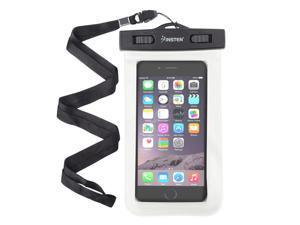 eForCity White Waterproof Bag PVC Carrying Case Pouch (6.5 x 3.9 inches) with Lanyard For ZTE Fanfare Nexus 5X 5P iPhone Samsung LG HTC Nokia Motorola Alcatel ZTE Huawei Universal - up to 3 meters
