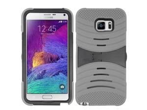 Samsung Galaxy Note 5 Case, eForCity Wave Symbiosis Dual Layer [Shock Absorbing] Protection Hybrid Stand Rubber Silicone/PC Case Cover w/Screen Protector For Samsung Galaxy Note 5, Gray/Black