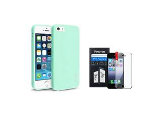 eForCity iPhone 5 / 5S Case - Mint Green TPU Rubber Gel Case Cover w/ Clear Screen Protector for Apple iphone 5/5S