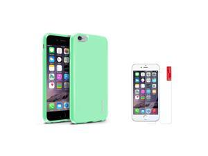 eForCity iPhone 6 / 6S Case - Mint Green TPU Rubber Gel Case Cover w/ Clear Screen Protector Guard Shield for Apple iPhone 6 / 6S (4.7-inch)