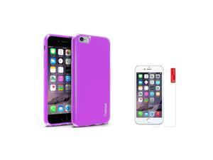 eForCity iPhone 6 / 6S Case - Purple TPU Rubber Gel Case Cover w/ Clear Screen Protector Guard Shield for Apple iPhone 6 / 6S (4.7-inch)