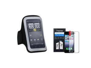 eForCity Pouch Black Sport Armband 212 +LCD cover Guard for Apple iPhone 5 / 5C / 5S