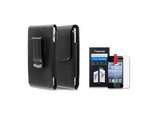 eForCity Reusable Screen Protector + black w/black stitching Leather Phone Case with Magnetic Flap Bundle Compatible With Apple® iPhone 4 - AT&T, 4 - Verizon, 4S