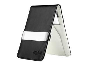 eForCity Black/White Mens Faux Genuine Leather Silver Money Clip Wallets ID Credit Card Holder