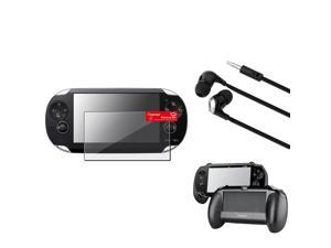 eForCity Black Hand Grip + Clear Film Protector + Black/Silver Headset For Sony PS Vita PSV
