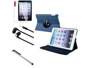 eForCity 4 Bundle Navy Blue 360 Rotating Leather Case Guard Headset Stylus compatible with Apple iPad Mini 1 / Apple iPad Mini 2 / iPad Mini with Retina Display (iPad Mini 3)