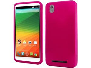 ZTE Lever LTE Case, eForCity Frosted TPU Rubber Candy Skin Case Cover For ZTE Lever LTE, Hot Pink