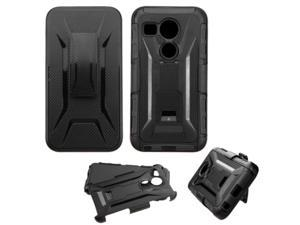 LG Google Nexus 5 Case, eForCity Car Armor Dual Layer [Shock Absorbing] Protection Hybrid PC/Silicone Holster Case Cover For LG Google Nexus 5 D820 / D821, Black