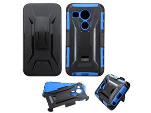 LG Google Nexus 5 Case, eForCity Car Armor Dual Layer [Shock Absorbing] Protection Hybrid PC/Silicone Holster Case Cover For LG Google Nexus 5 D820 / D821, Black/Blue