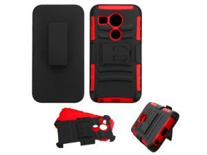 LG Google Nexus 5 Case, eForCity Car Armor Dual Layer [Shock Absorbing] Protection Hybrid PC/Silicone Holster Case Cover For LG Google Nexus 5 D820 / D821, Black/Red