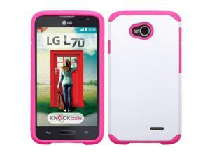 eForCity Dual Layer Protection Hybrid Rubberized Hard PC/Silicone Case Cover For LG Optimus Exceed 2 VS450PP Verizon/Optimus L70 MS323/Realm LS620/Ultimate 2, White/Hot Pink