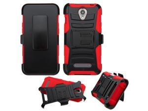 ZTE Obsidian Case, eForCity Dual Layer [Shock Absorbing] Protection Hybrid PC/Silicone Holster Case Cover For ZTE Obsidian, Black/Red