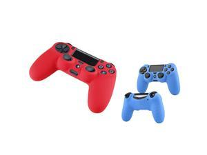 eForCity 2 Packs Silicone Controller Case Combo: Blue / Red Compatible with Sony PlayStation PS4