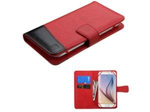 eForCity Folio Leather Case For Apple iPhone 6 / 6s HTC Desire 510 / 610 (ATT) HTC EVO 4G HTC One M7 / M8 / X / XL LG Optimus F7 Motorola Moto X (1st Gen) Samsung Galaxy S3 / S4, Black/Red