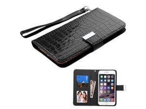 eForCity Flip Leather Cover Case For iPhone 6 Plus LG G Pro 2 / Lite / G2 / G3 Moto X (2nd) Galaxy Note 1 2 3 4 ZTE ZMax - Black