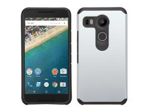 LG Google Nexus 5X Case, eForCity Dual Layer [Shock Absorbing] Protection Hybrid Rubberized Hard PC/Silicone Case Cover For LG Google Nexus 5X, Silver/Black
