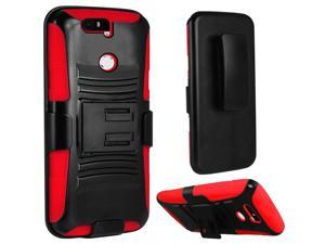 Huawei Google Nexus 6P Case, eForCity Dual Layer [Shock Absorbing] Protection Hybrid PC/Silicone Holster Case Cover For Huawei Google Nexus 6P, Black/Red