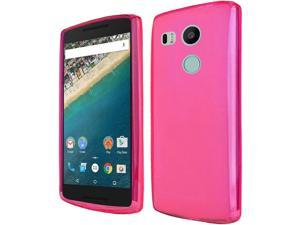 LG Google Nexus 5X Case, eForCity Frosted TPU Rubber Candy Skin Case Cover For LG Google Nexus 5X, Hot Pink