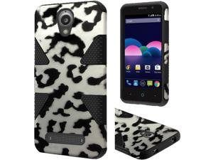 ZTE Obsidian Case, eForCity Dynamic Leopard Dual Layer [Shock Absorbing] Protection Hybrid Rubberized Hard PC/Silicone Case Cover For ZTE Obsidian, Black/White