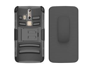 ZTE Axon Pro Case, eForCity Dual Layer [Shock Absorbing] Protection Hybrid PC/Silicone Holster Case Cover For ZTE Axon Pro, Black/Gray