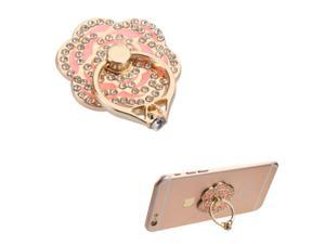 eForCity Pink Flower Diamond Adhesive Ring Finger Bracket Holder Stand For iPhone 6 6s Plus 5 Samsung Galaxy Note 5 S6 HTC One M9 M8 Smartphone Android IOS