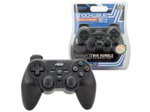 Komodo 2-Pack Wireless 2.4GHZ Shock-wave Controller For Sony PlayStation 2 Black
